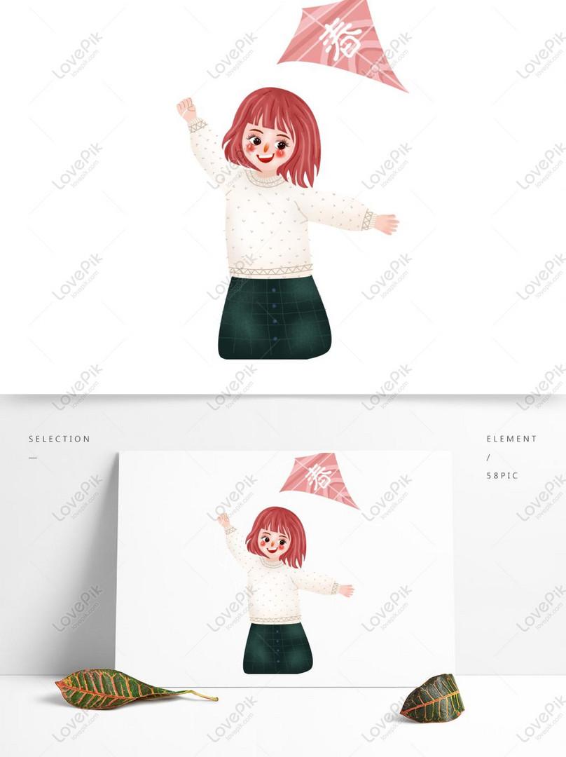 cartoon cute spring girl flying a kite