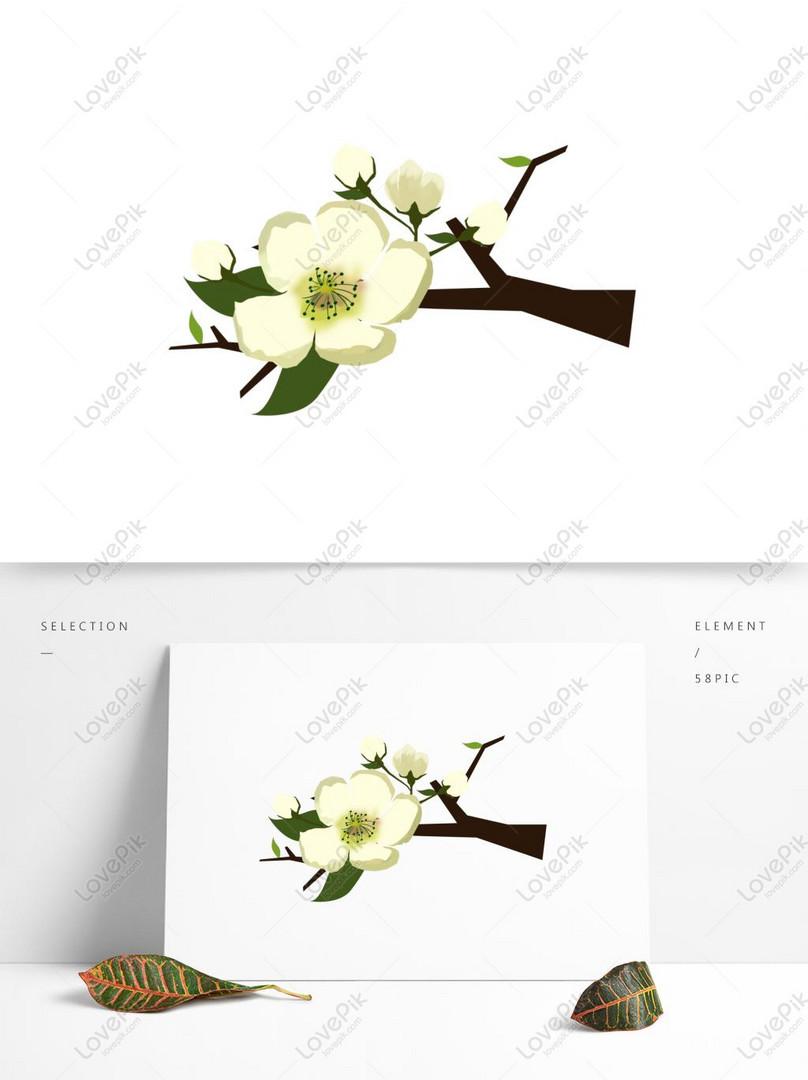 Armut Cicegi Beyaz Cicek Sakura Cicegi El Boyamasi Basit Ruzgar