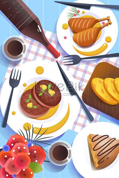 french dish foie gras duck leg flat illustration png