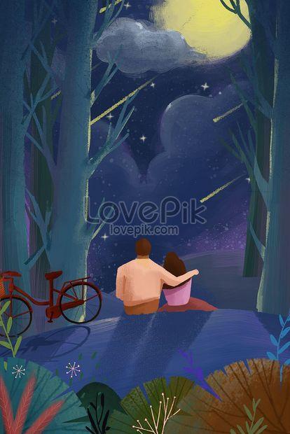 casal qixi lua download de material de ilustração png