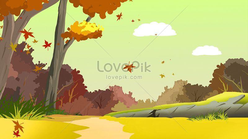 秋の山の風景手描きの美しいイラストイメージ 図 Id Prf画像フォーマットjpg Jp Lovepik Com