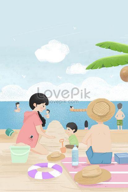 Pantai Bercuti Panjang Bermain Kecil Dicat Baru Gambar Unduh Gratis Imej 630011791 Format Jpg My Lovepik Com