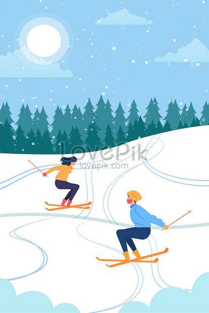 kartun snowy winter snowing ilustrasi ilustrasi png