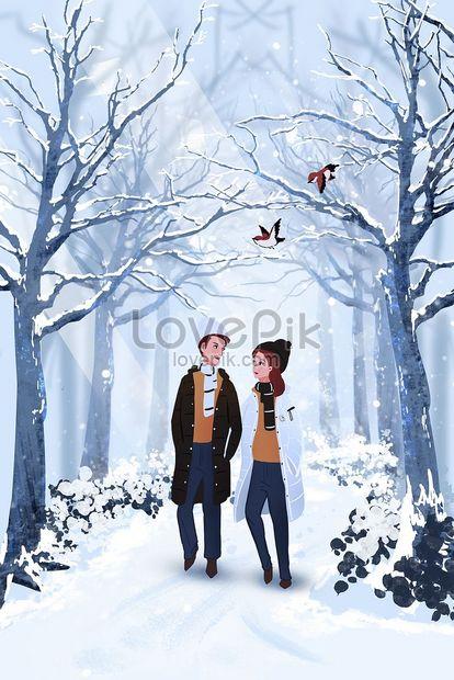 bosque nevado pareja invierno png