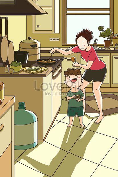 Momen Gembira Di Dapur Ibu Dan Kanak Kanak Gambar Unduh Gratis Imej 630019146 Format Jpg My Lovepik Com