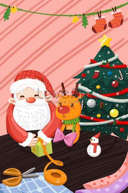 Desenhos Animados Natal Papai Noel E Rena Fazendo Presentes Inte
