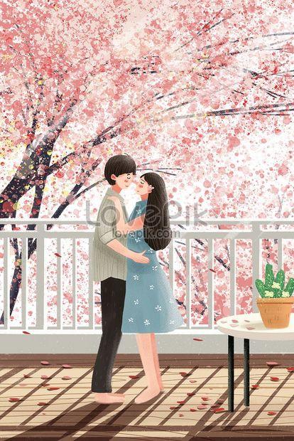 día de san valentín pareja flor de cerezo romántico rosa curació png
