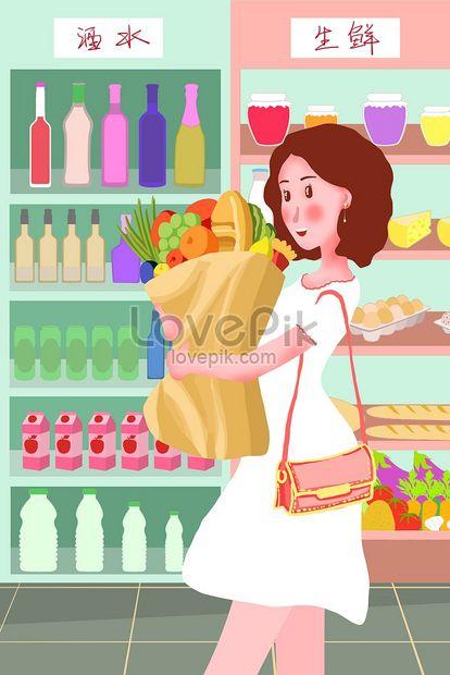 Lovepik صورة Jpg 630006924 Id توضيح بحث صور تسوق بنت السوبر ماركت الشراء الطعام تصوير