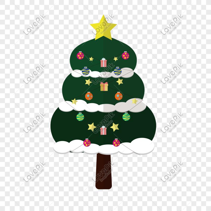Colorful Christmas Tree Vector.Christmas Colorful Christmas Tree Cartoon Vector Png