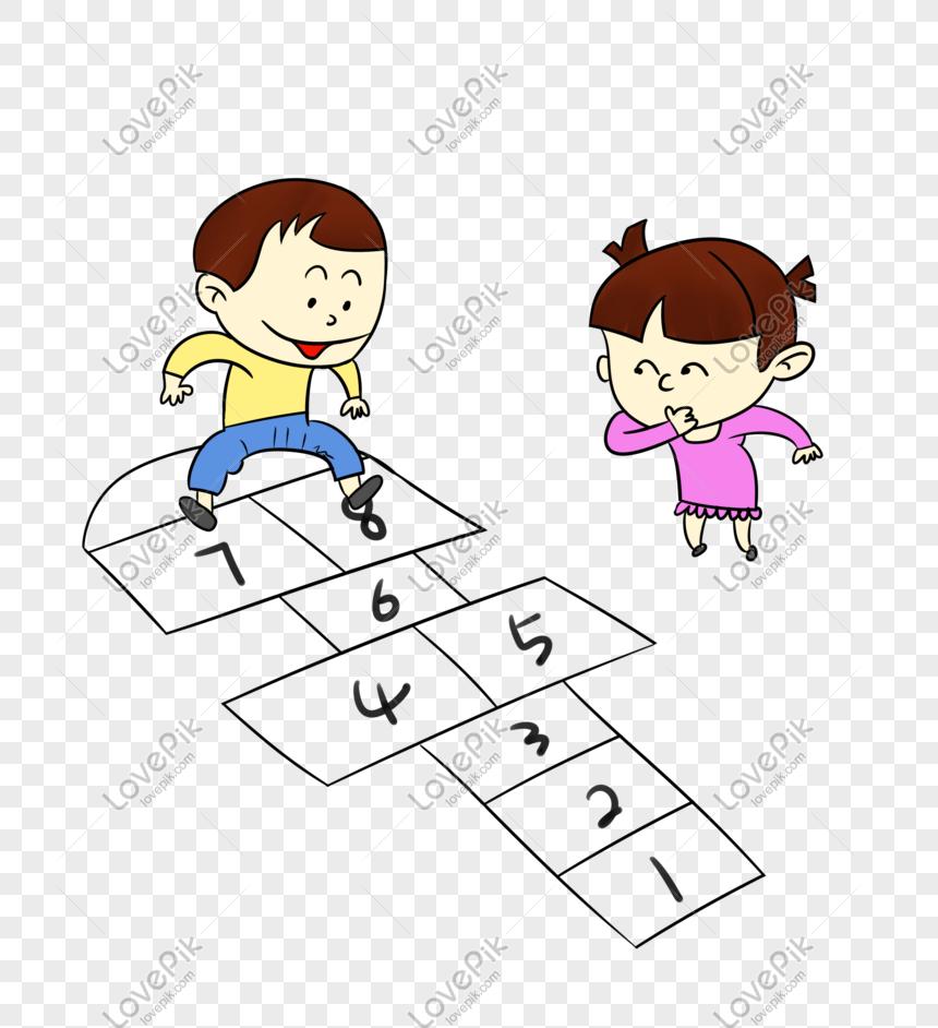 Permainan Anak Anak Hopscotch Png Grafik Gambar Unduh Gratis Lovepik