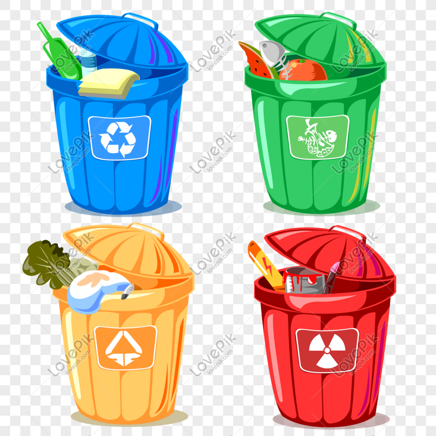 Four Color Cartoon Environmental Classified Trash Can Icon Png