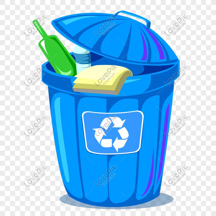 Ikon Tempat Sampah Daur Ulang Eco Kartun Biru Gambar Unduh