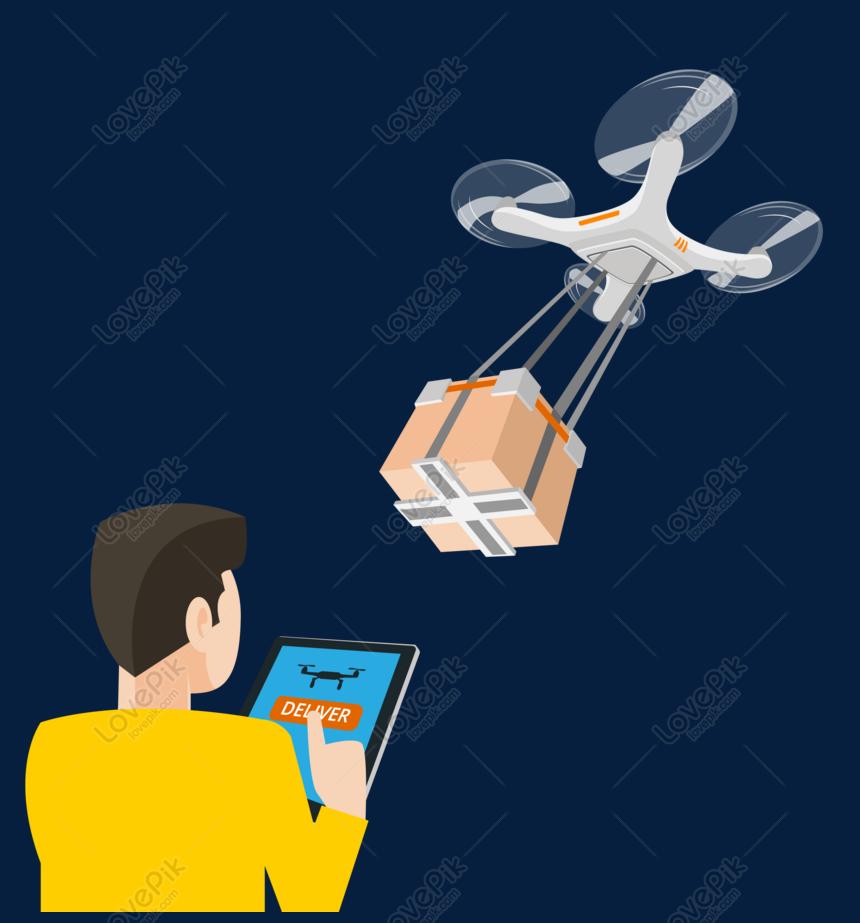 Kartun Drone Yang Dioperasikan Tangan Manusia PNG Grafik