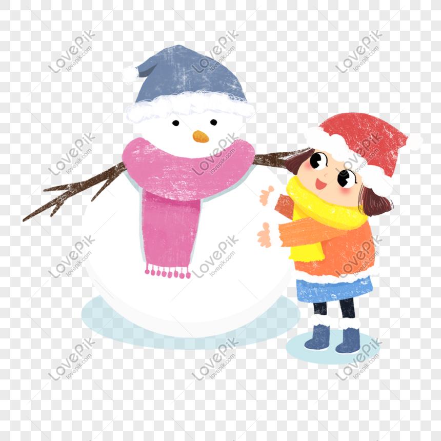 Dibujos Animados Mano Dibujada Niña Haciendo Un Muñeco De Nieve Imágenes De Gráficos Png Gratis Lovepik