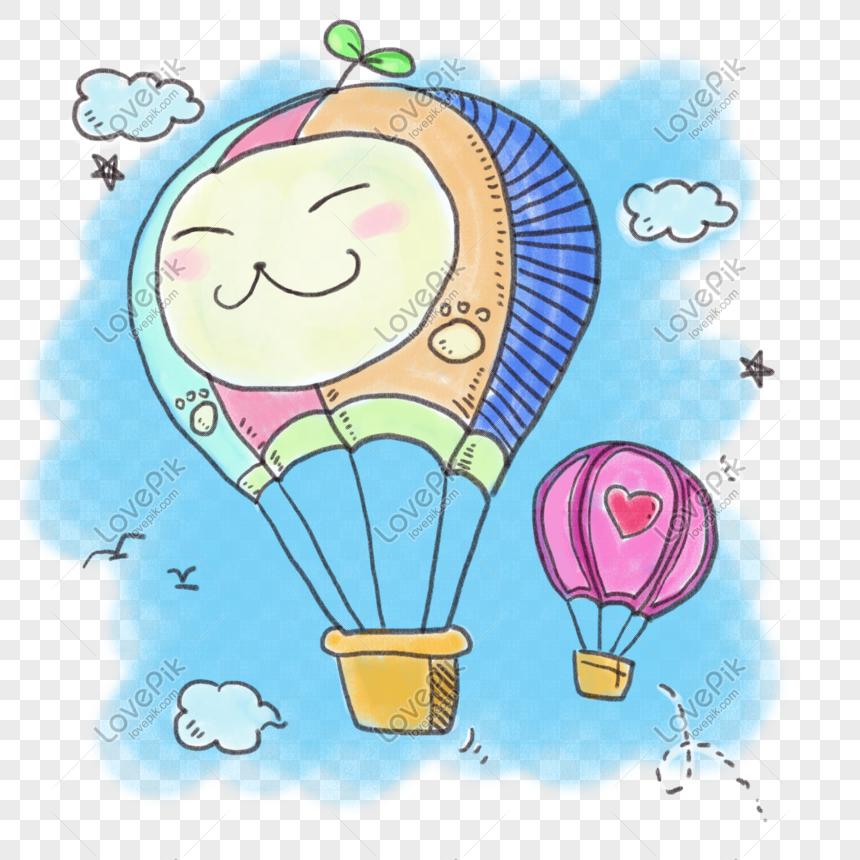 Kartun Tangan Digambar Warna Corak Kartun Udara Panas Melekat Gambar Unduh Gratis Imej 649834052 Format Psd My Lovepik Com