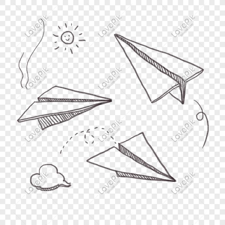 Cartoon Hand Drawn Graffiti Line Paper Airplane Stick Figure Png