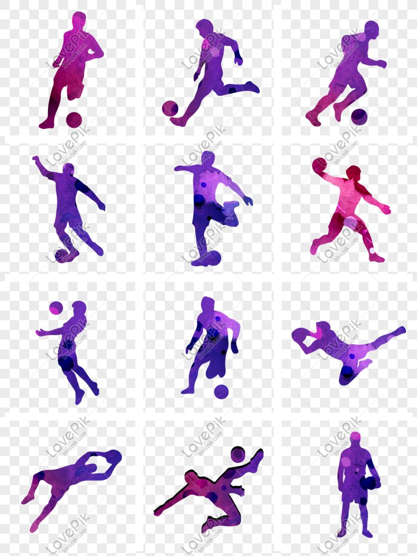 olahraga sepak bola vektor siluet dinamis
