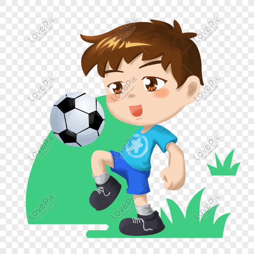 Kartun Anak Anak Olahraga Ilustrasi Sepak Bola Remaja PNG ...