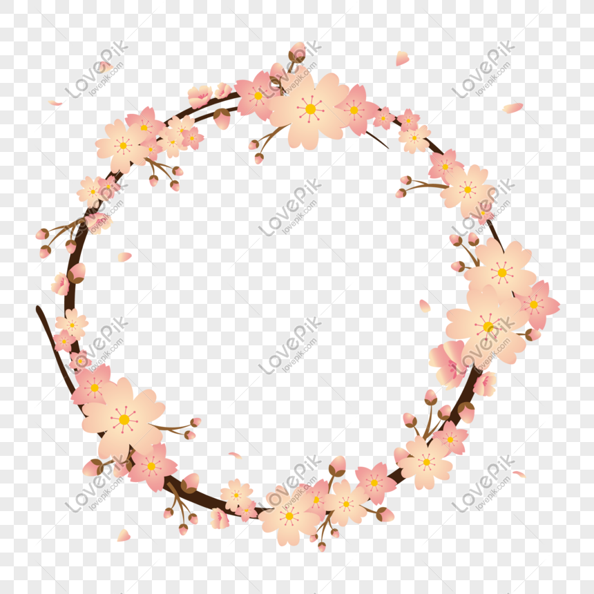 romantic cherry blossom border vector material png