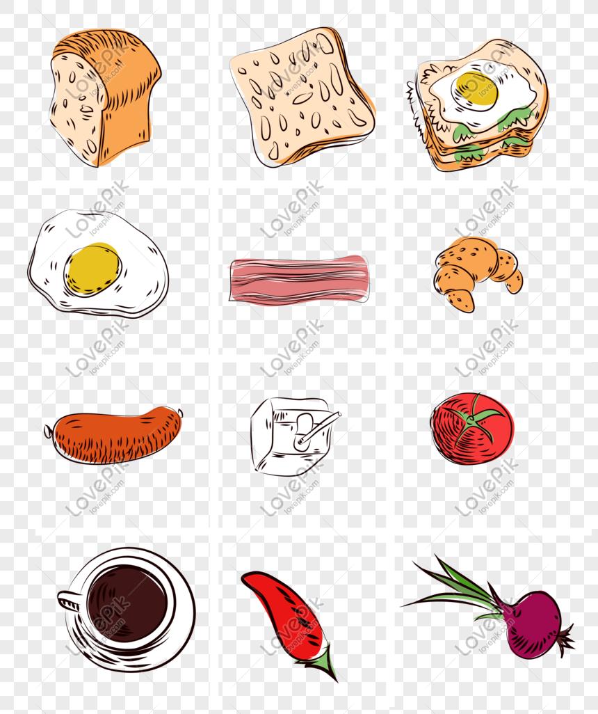 Lukisan Tangan Kartun Disediakan Makanan Percuma Gambar Unduh