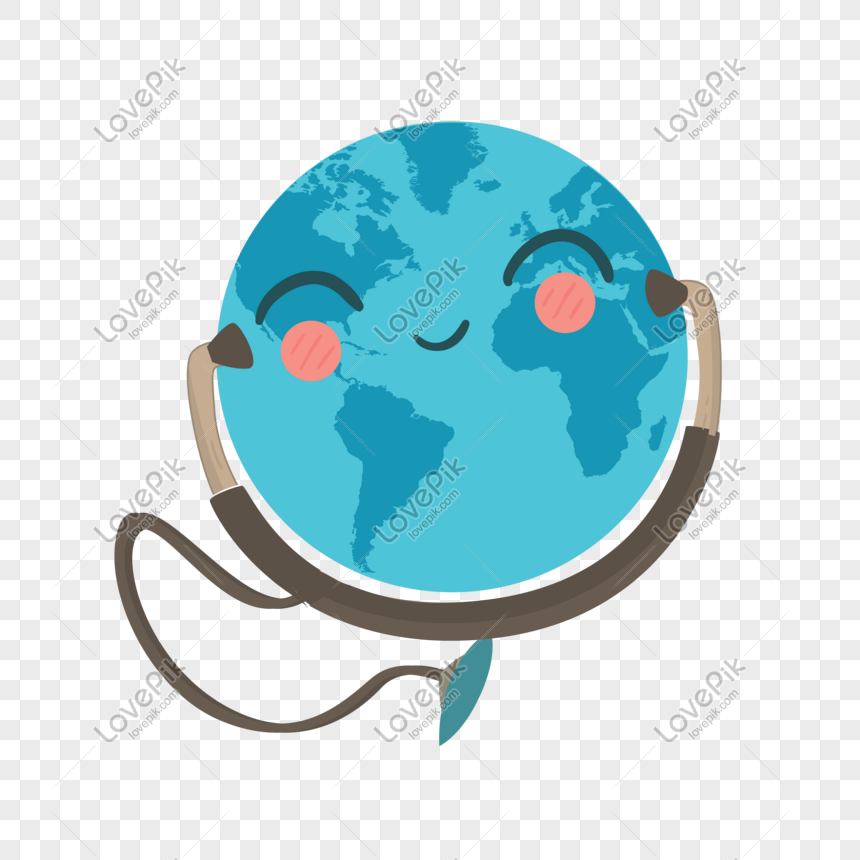 world health day earth earpiece blue planet pattern design png