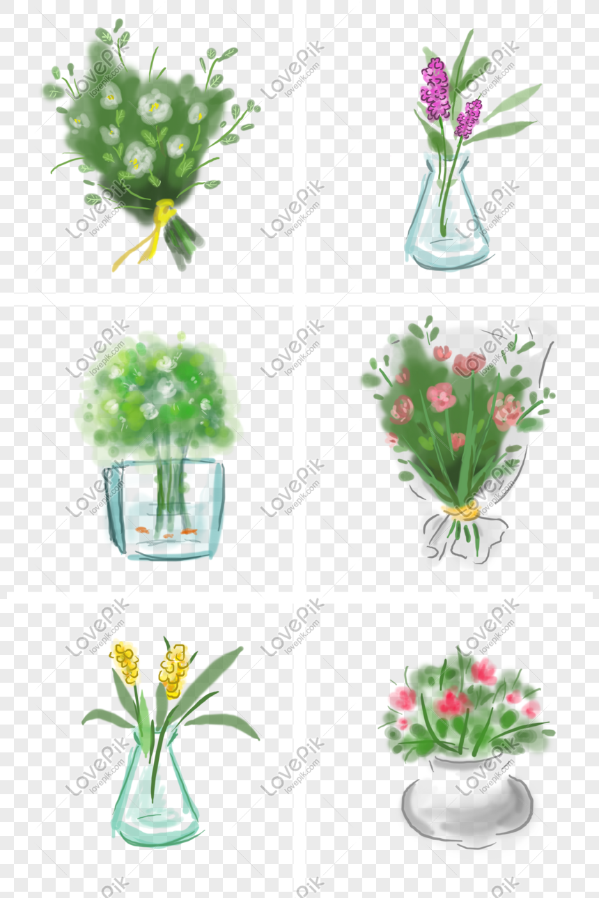 Spring Hand Painted Potted Bouquet Png