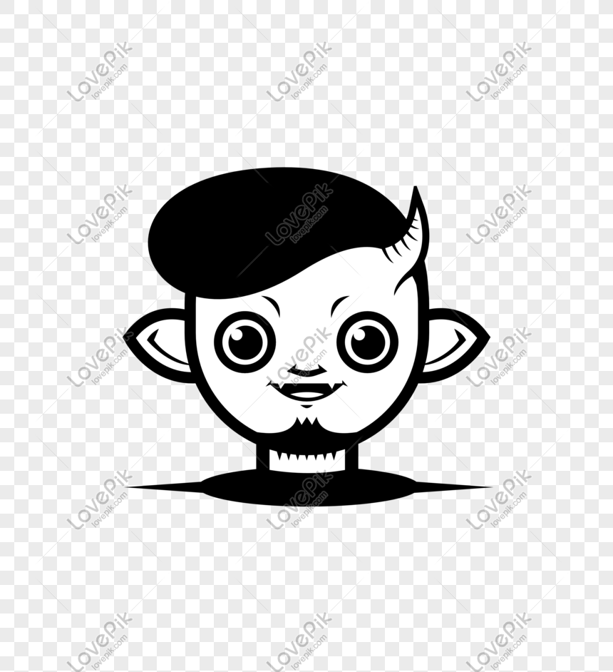 Halloween Black And White Funny Trend Vector Cartoon Man Set
