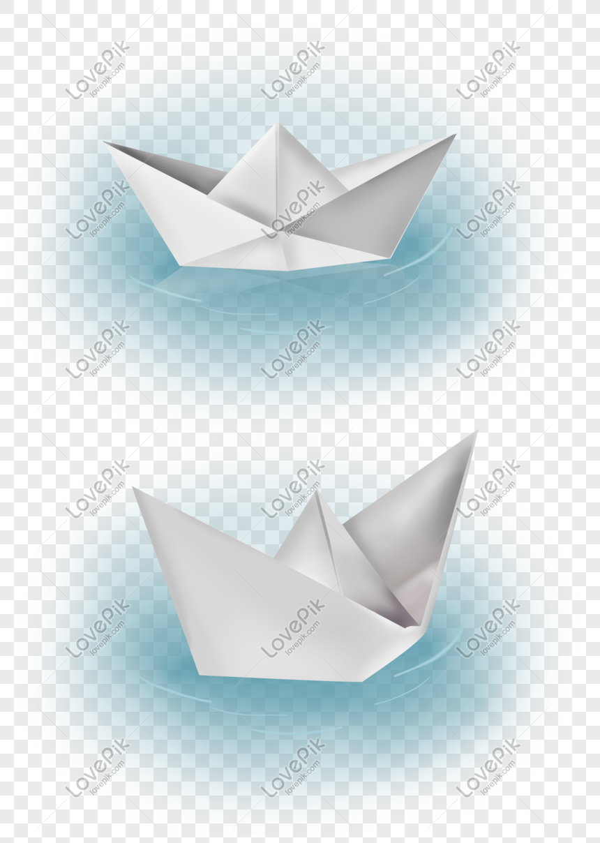 Origami paper boat red, yellow, blue on white. Clipart | k10176593 ... | 1208x860