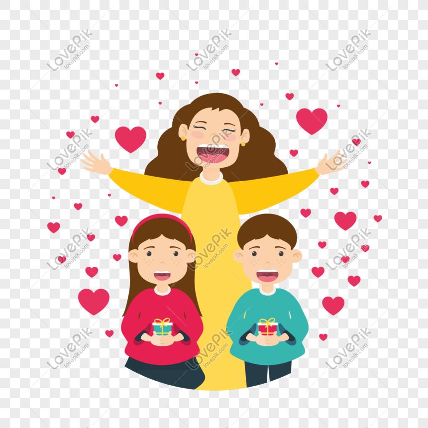 Dibujos Animados Feliz Día De La Madre Feliz Vector Material