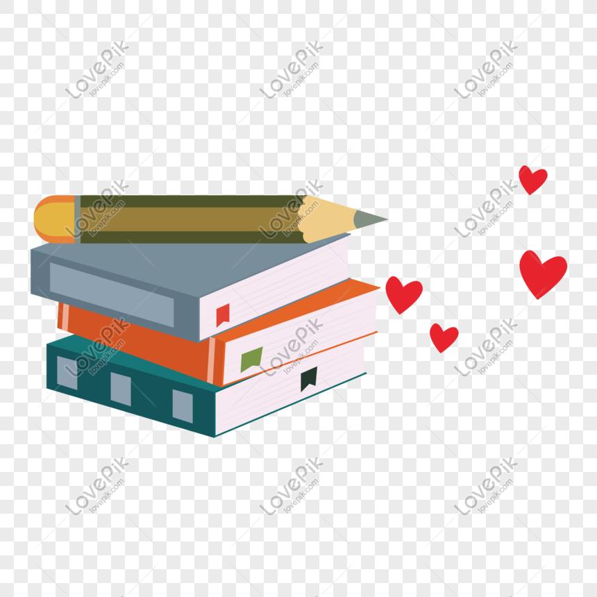Dibujos Animados Amor Libros Y Lápiz Vector Material Imagen