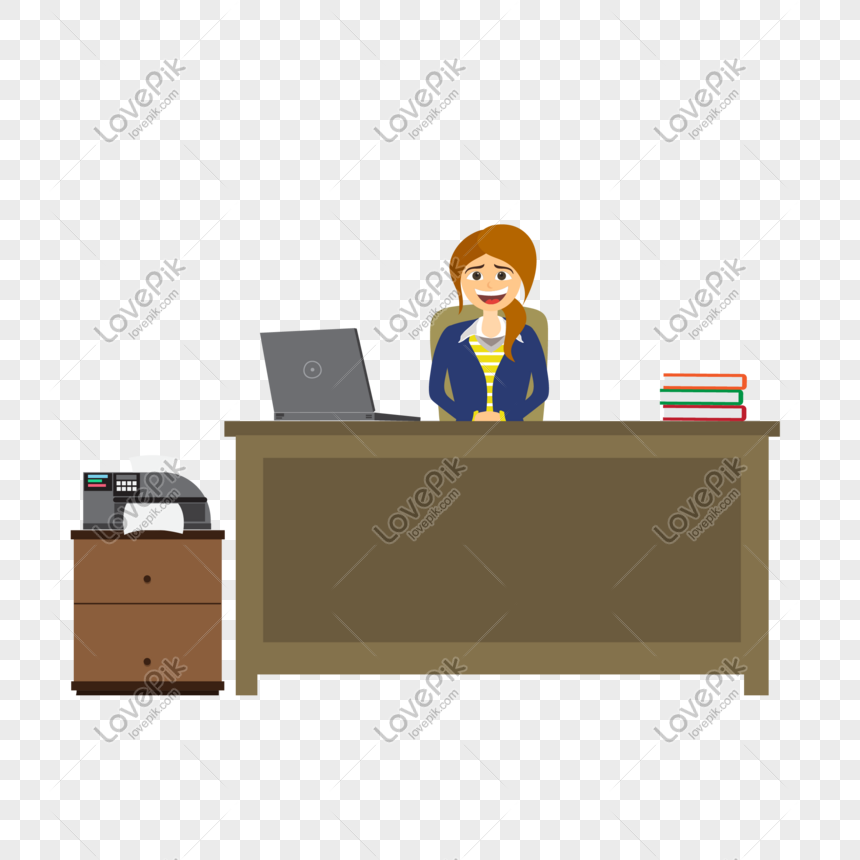 Cartoon Woman Working In The Office Vector Material Png Image Picture Free Download 610428598 Lovepik Com