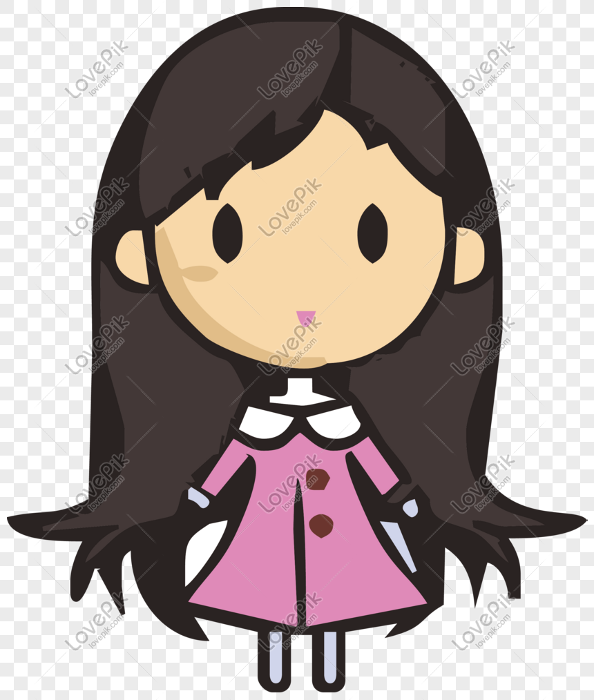 Hand Drawn Cartoon Cute Little Girl Wearing Pink Dress Free