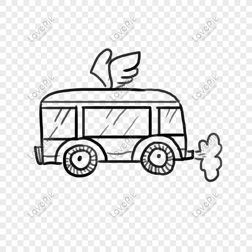 Hari Anak Anak Sketsa Lengket Tangan Doodle Bus Kecil Gambar Unduh