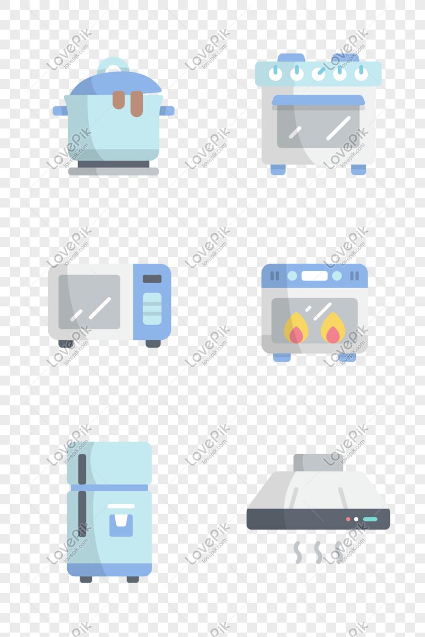 Maliit Na Sariwang Kitchen Appliances Icon Larawan Numero Ng