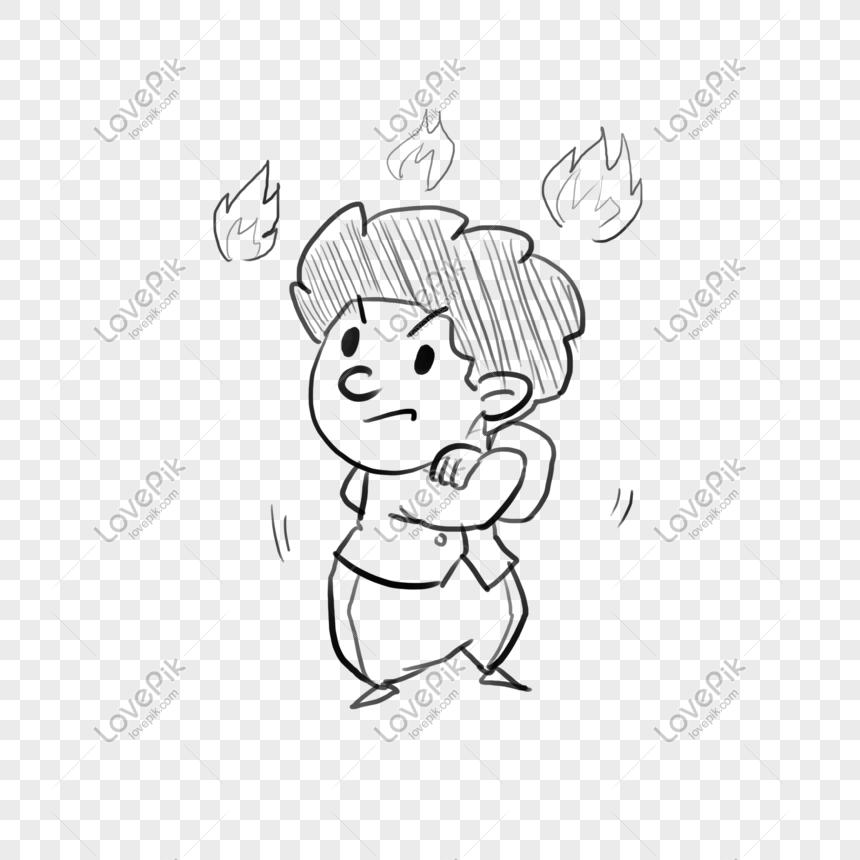 Día Del Niño Dibujo Dibujado A Mano Doodle Boy Comics Imagen