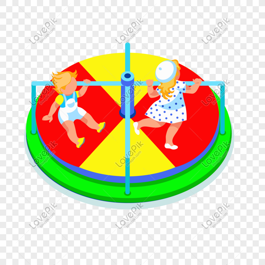 Cartoon Kid Playing Spinning Bed Vector Material Png Image Picture
