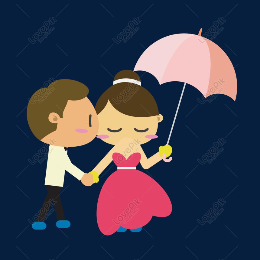 Payung Kartun Dan Bahan Vektor Pengantin Perempuan Dan Pengantin