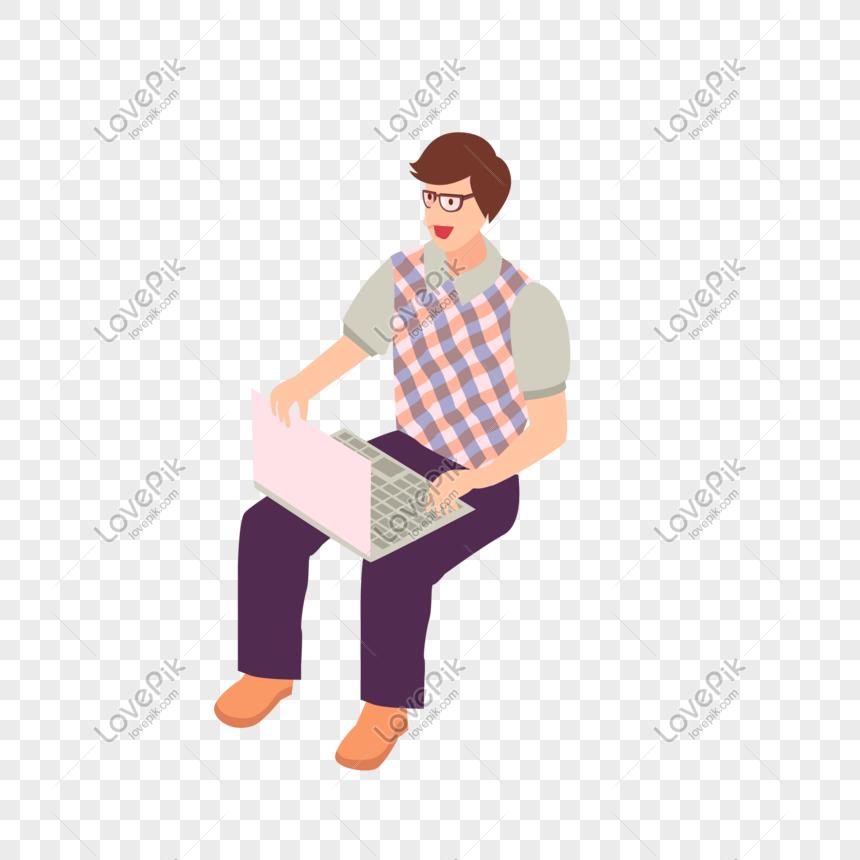 Desenhos Animados Sentado Homem Notebook Trabalho Vetor Material