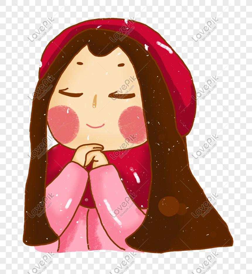 Girl Diam Diam Berdoa Kartun Gambar Unduh Gratis Imej