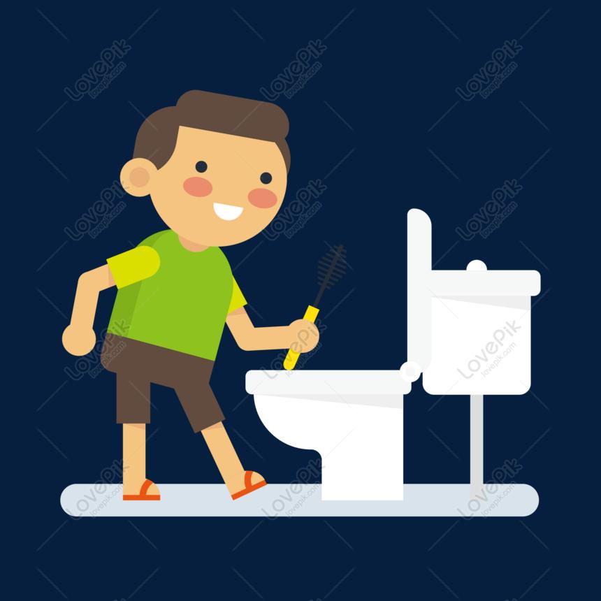 Kartun Berus Toilet Kanak Kanak Vektor Bahan Gambar Unduh