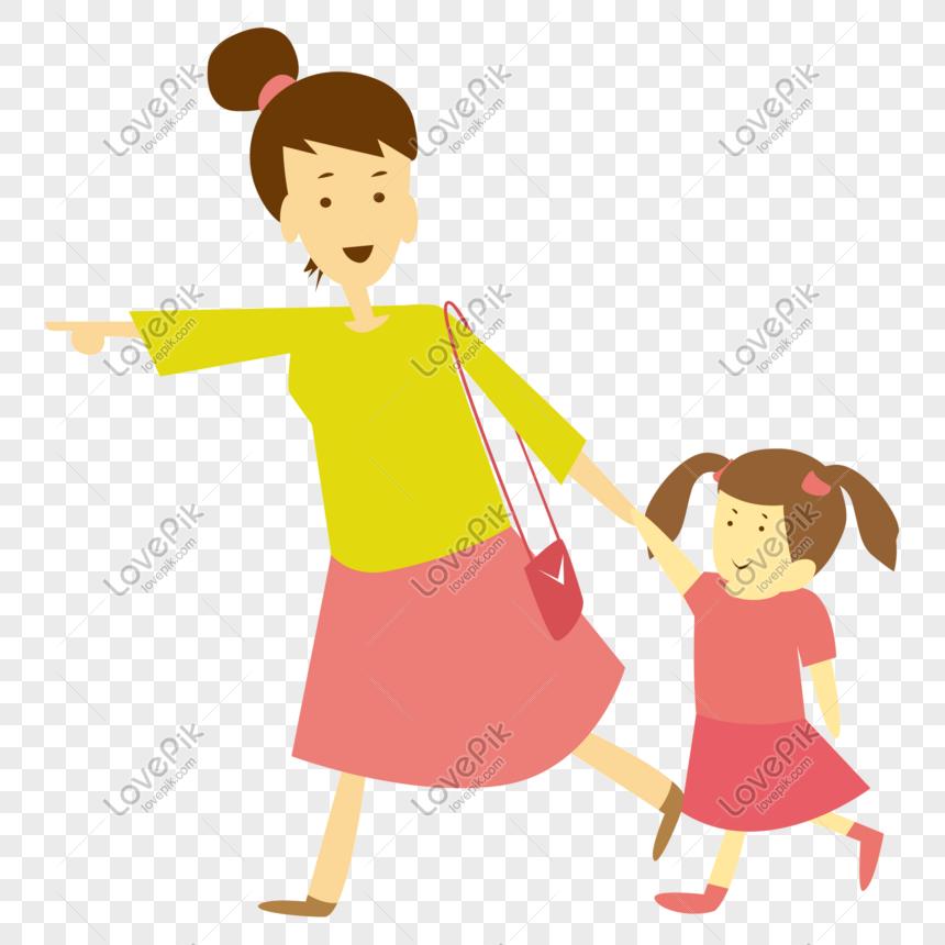 Vektor Kartun Ibu Memegang Anak Perempuan Png Grafik Gambar Unduh Gratis Lovepik