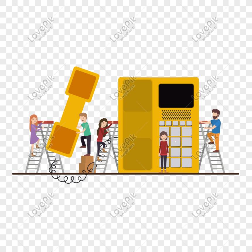 電話とミニキャラクターのベクター素材イメージグラフィックス