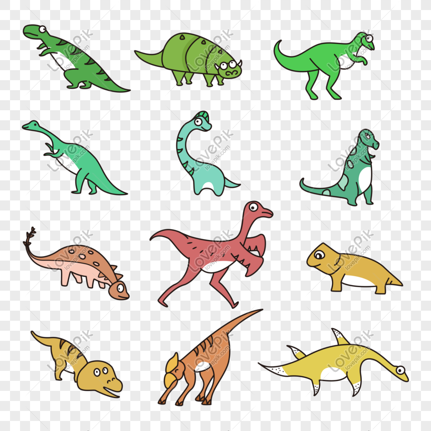 hand drawn cartoon dinosaurs png