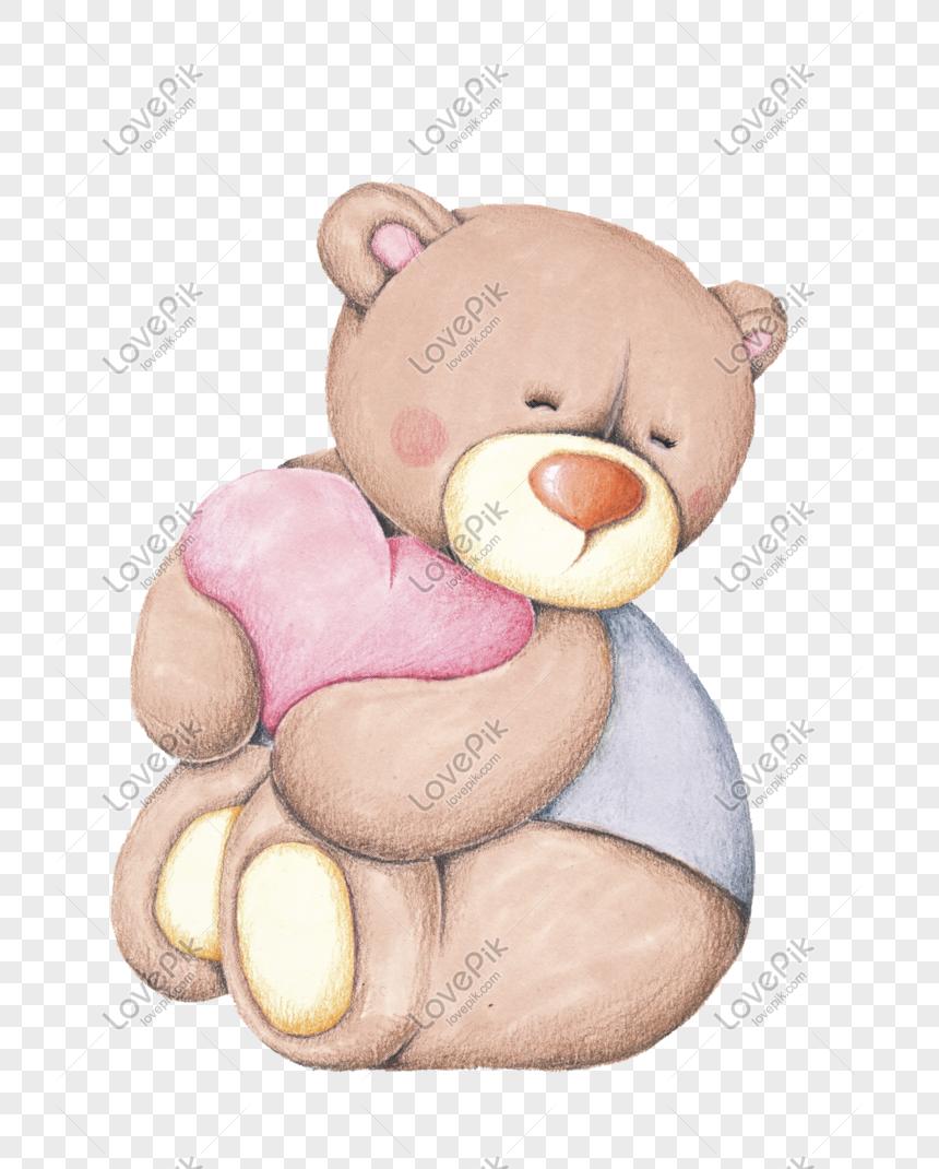 Bahan Kartun Lucu Boneka Beruang Vektor Tangan Ditarik PNG