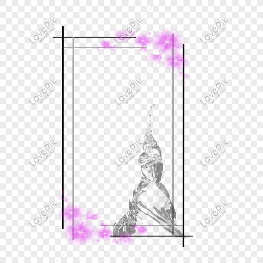 Transparent Background Black Flower Border Download Png