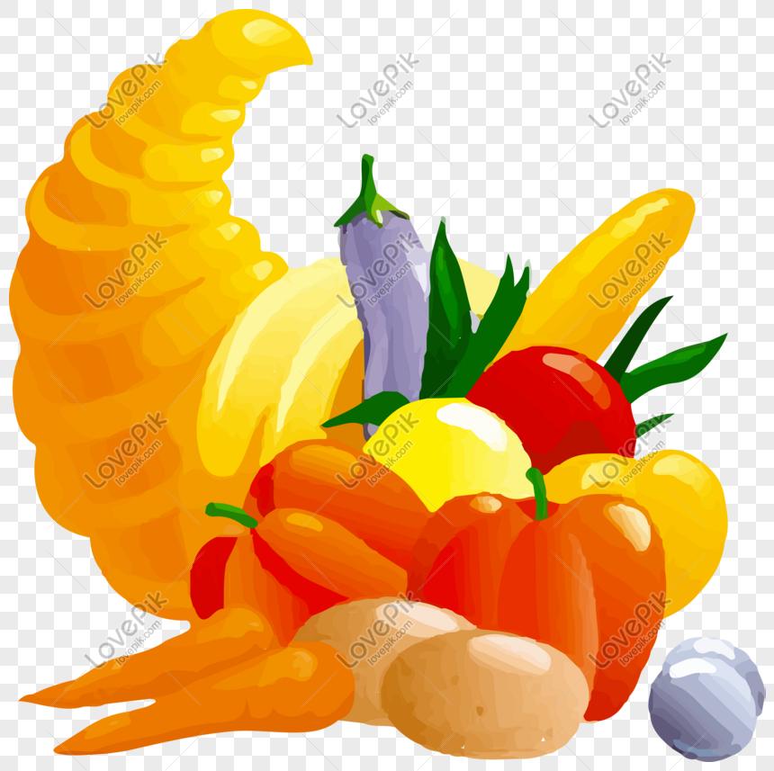 Combinación De Frutas Y Verduras De Dibujos Animados