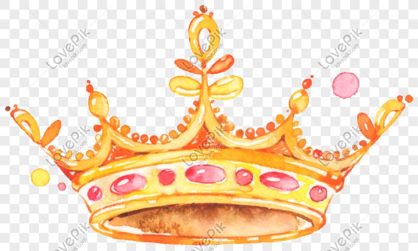 Photo De Aquarelle Peinte A La Main Princesse Couronne Dor Numero