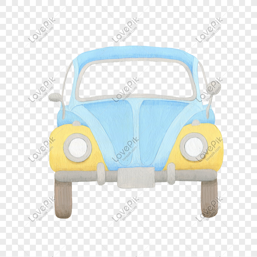 blue cartoon driving car png