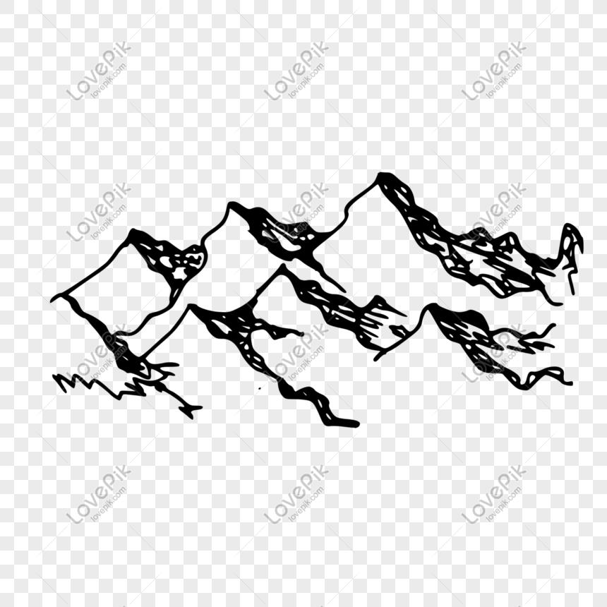 Sketsa Cat Air Gunung Hitam Gambar Unduh Gratis Grafik