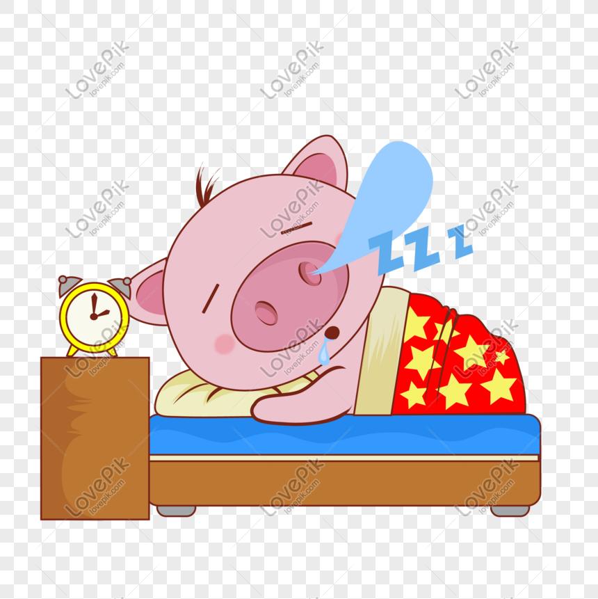 Kartun Comel Pet Babi Tidur Ekspresi Gambar Unduh
